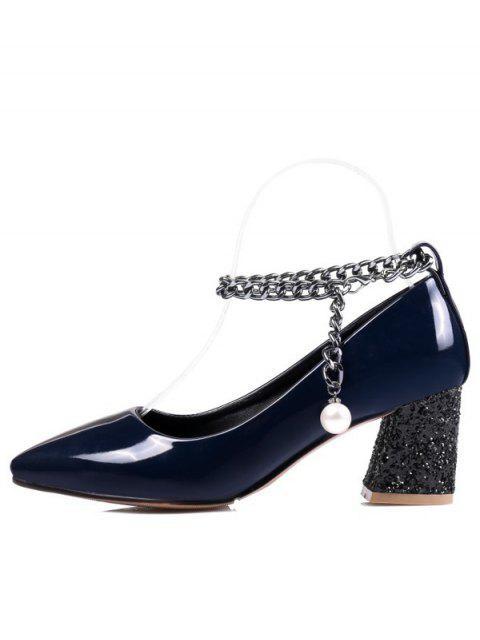 fancy Block Heel Chain Faux Pearl Pumps - DEEP BLUE 38 Mobile