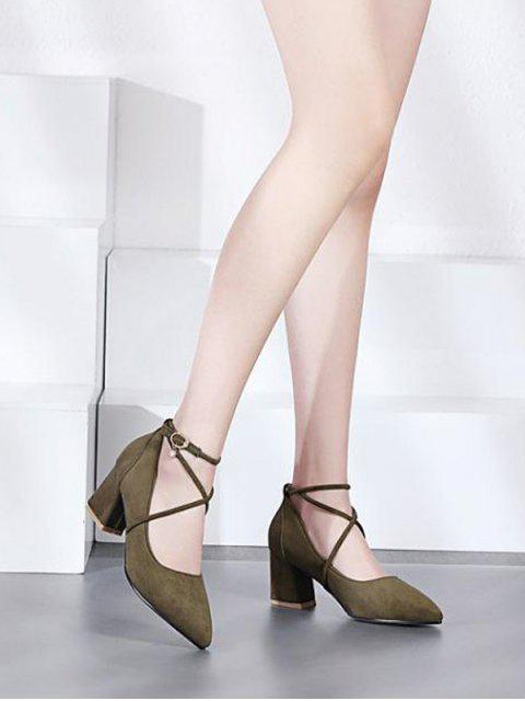 trendy Block Heel Cross Strap Rhinestone Pumps - ARMY GREEN 37 Mobile
