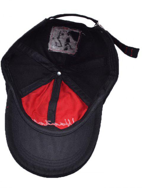 women's Letters Embroidery Holes Baseball Cap - BLACK  Mobile