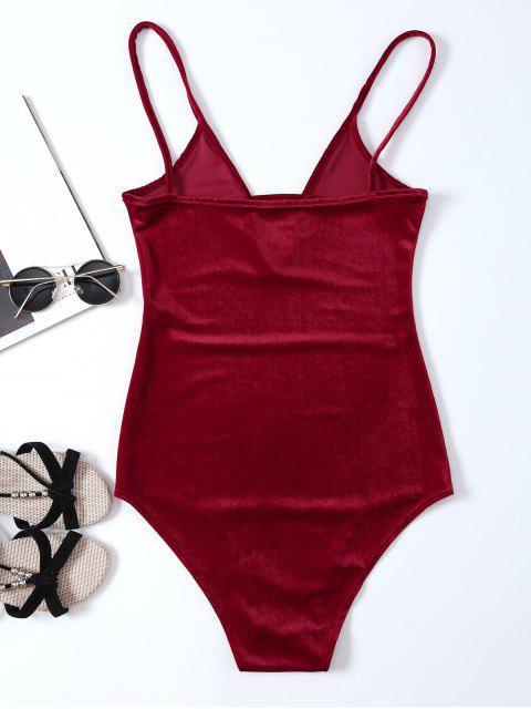 best High Cut Velvet Cami Bodysuit - RED S Mobile
