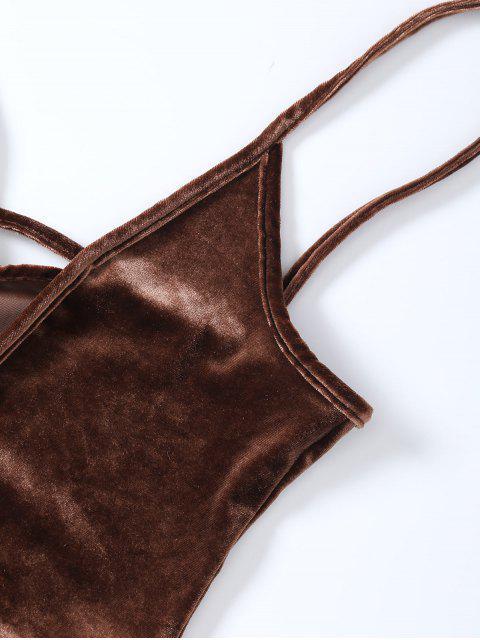 women's High Cut Velvet Cami Bodysuit - BROWN M Mobile