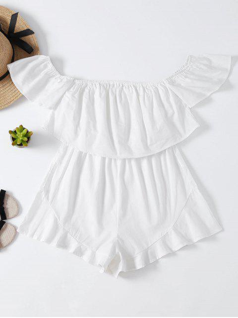 womens Frilly Off The Shoulder Beach Romper - WHITE S Mobile