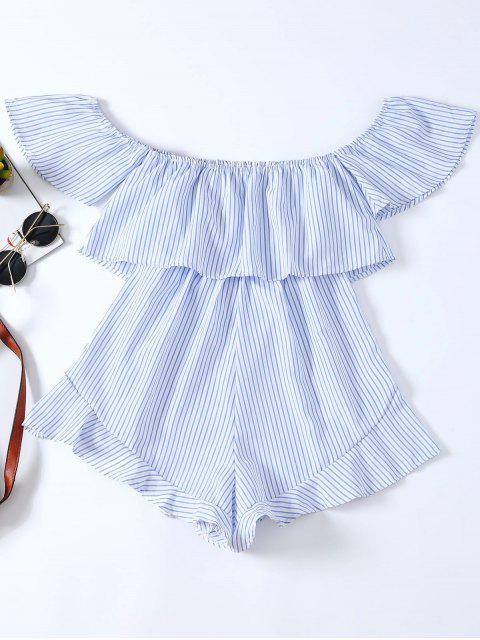 shop Frilly Off The Shoulder Beach Romper - BLUE AND WHITE XL Mobile
