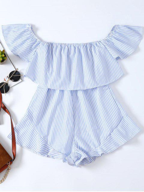 outfit Frilly Off The Shoulder Beach Romper - BLUE AND WHITE M Mobile