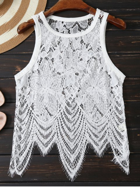 fancy Asymmetric Lace Top - WHITE S Mobile