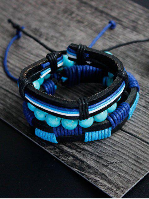 women Artuficial Turquoise Leather Woven Bracelet Set - CHARM  Mobile
