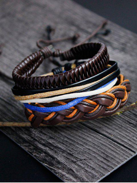 womens PU Rope Woven Layered Bracelet Set - MULTICOLOR  Mobile