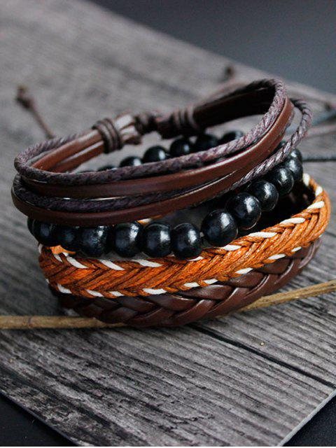 affordable PU Rope Woven Beaded Bracelet Set - BROWN  Mobile