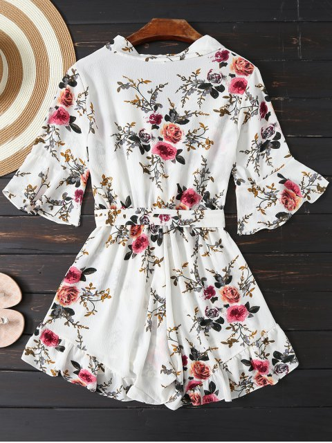 trendy Floral Plunging Neck Belted Romper - WHITE S Mobile