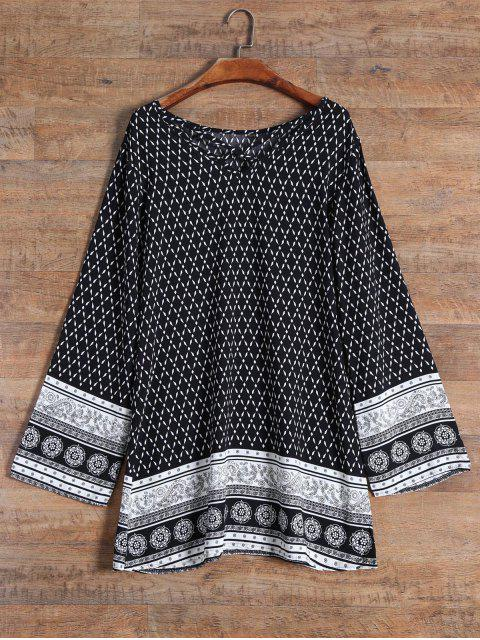 hot Patterned Strappy Dress - BLACK XL Mobile