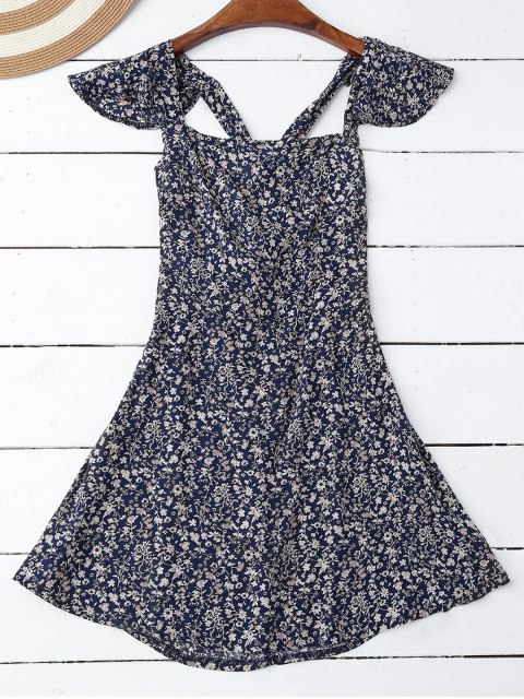 best Ruffles Tiny Floral Cross Back Dress - PURPLISH BLUE M Mobile