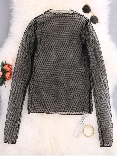 Rejilla de ver-a través de la blusa - Negro Talla única Mobile