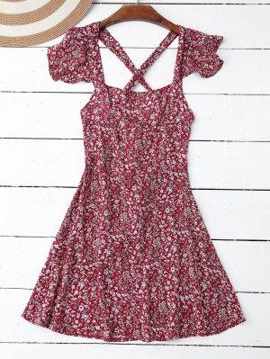 Vestido De Flores Minúsculos Con Volantes Con Detalle Cruzado En Espalda  - Rojo Xl