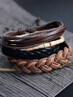 Jeu De Bracelets En Faux Cuir Tissé à La Main Et En Bambou - Multicouleur