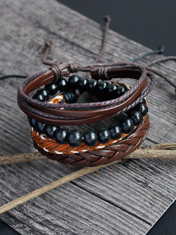 PU Rope Woven Beaded Bracelet Set