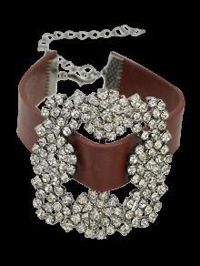 Rhinestone Faux Leather Flower Bracelet - Brown