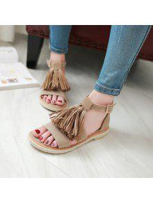 cheap sale original Tassels Suede Espadrilles Sandals - Apricot 37 clearance prices visit sale online cheap sale hot sale free shipping real 6JDF2yw
