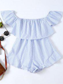 Frilly Off The Shoulder Beach Romper - Blue And White M