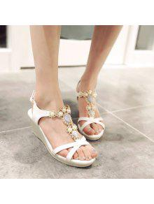 Buy T Strap Faux Leather Sandals - WHITE 38