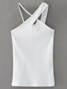 Cross Front Asymmetric Ribbed Top - White S