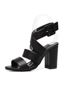 99fdbd43cc42 34% OFF  2019 Cross Strap Block Heel Sandals In BLACK