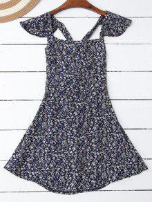 Ruffles Minúsculo Cruz Floral Voltar Vestido - Azul Arroxeado S