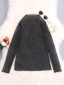 Silver Thread See-Through Blouse - Black