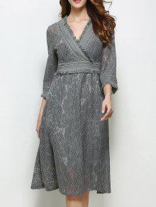 فستان عالية الخصر توهج الأكمام هامشي دانتيل - رمادي M