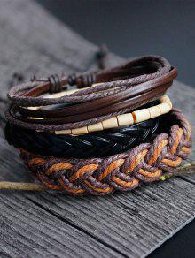 جلدية فو الخيزران المنسوجة حبل سوار مجموعة - متعدد الألوان