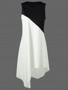 كتلة اللون سوينغ أكمام فستان عارضة بوتيك - أبيض وأسود M