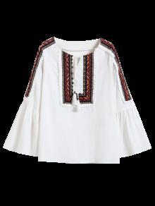 Linen Blend Bell Sleeve Blouse - White