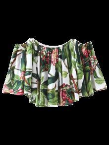 Blouse Imprimée Tropicale à épaules Dénudées  - Floral S
