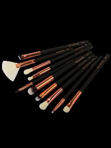 Ensemble De 10 Brosses De Maquillage Pour Yeux En Fibre - Noir