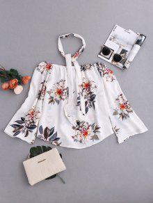 Blusa Floral Cuello Gargantilla Al Hombro - L