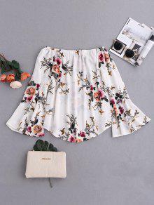 Floral Flare Sleeve Off Shoulder Blouse - White Xl