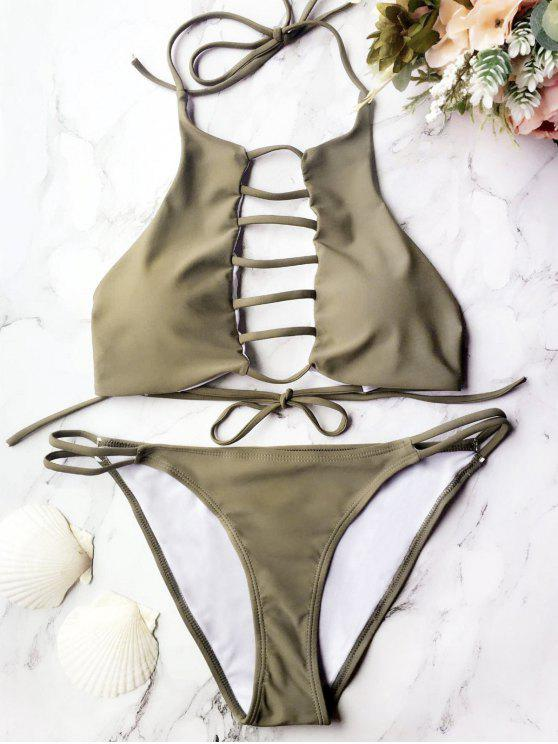 58c55eedd109a 18% OFF] 2019 Padded Ladder Cut Out Bikini Set In GREY OLIVE | ZAFUL