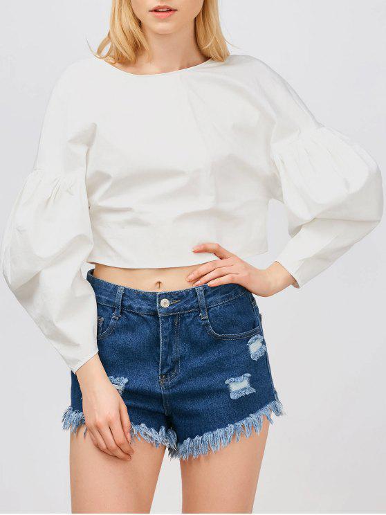 Larga blusa de la manga de soplo recortada - Blanco S