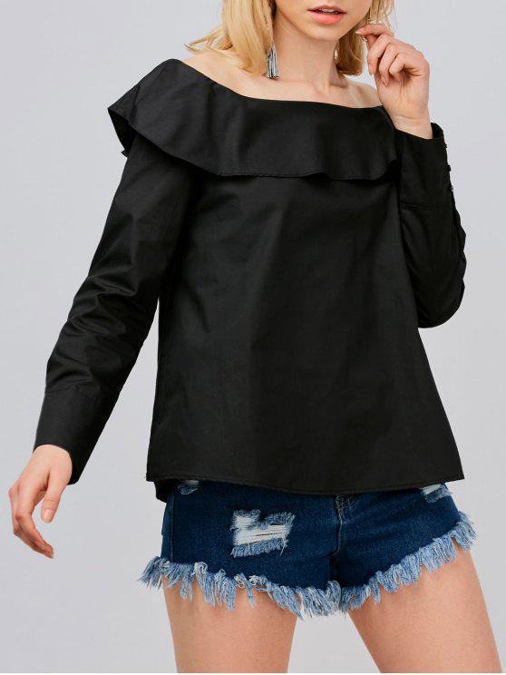 ladies Off Shoulder Oversized Blouse - BLACK S