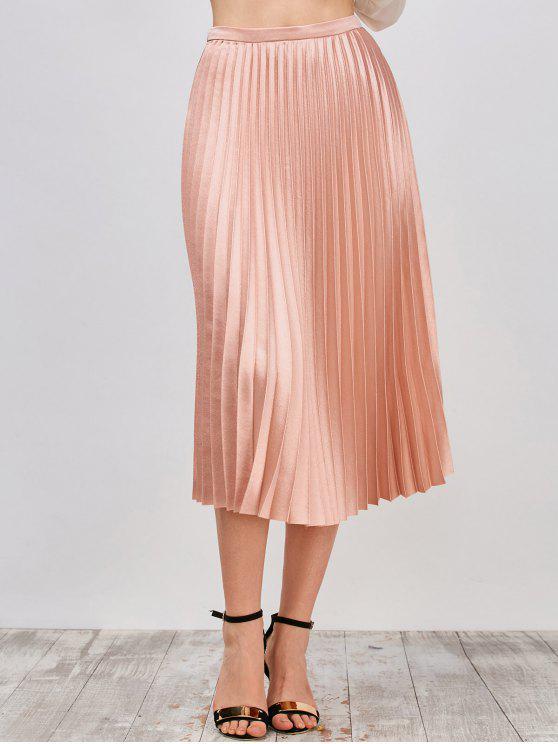 Metálica falda plisada - Rosa beige  L