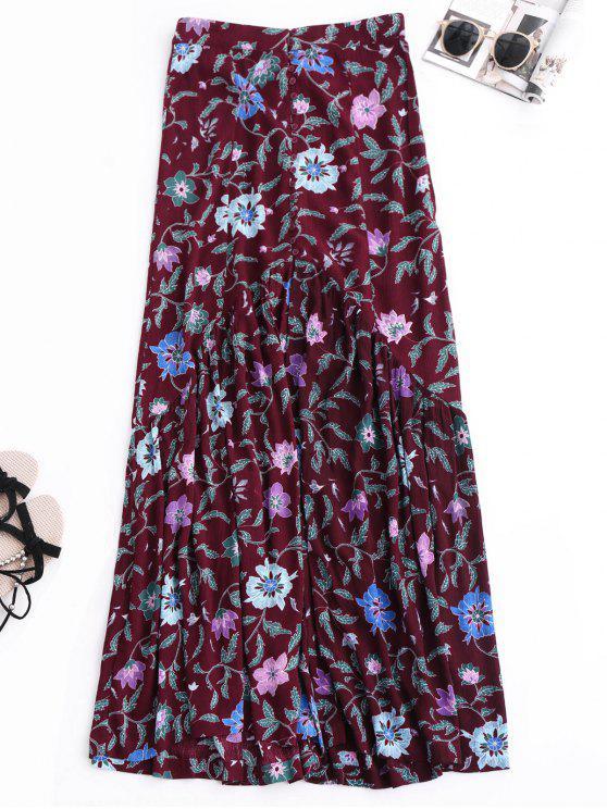 trendy Maxi Buttoned Slit Floral Skirt - COLORMIX M
