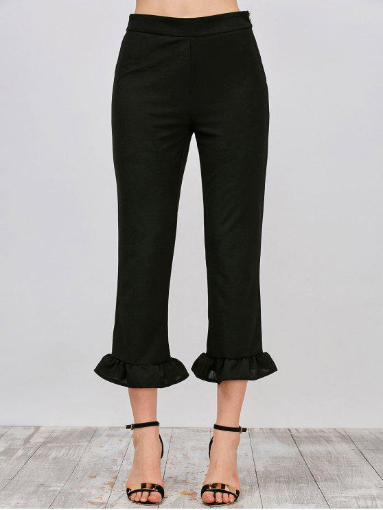 fashion Ruffle Hem Capri Pants - BLACK L