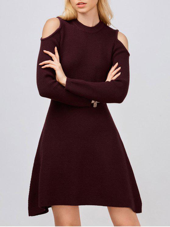 shop Cold Shoulder Knitted Dress - WINE RED L