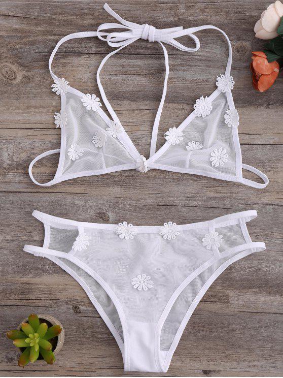 fancy Strappy Mesh Daisy Bra Set - WHITE L
