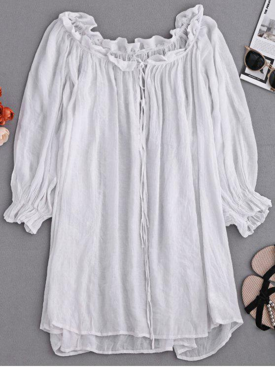 women Ruffle Tie Neck Draped Cover Up - WHITE ONE SIZE