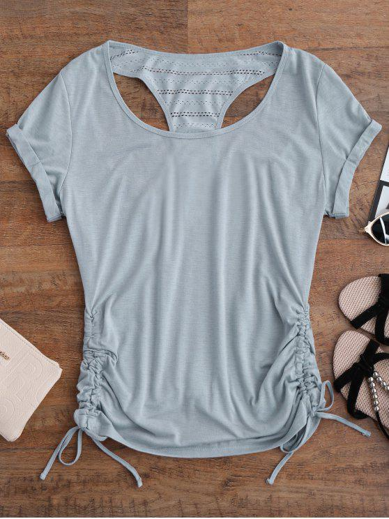 lady Side Drawstring Racerback Cover-Up - GRAY M