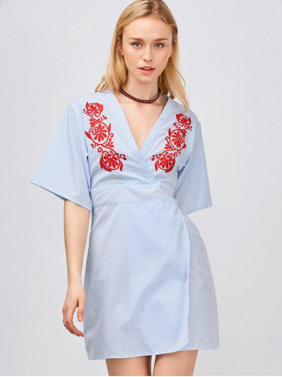 trendy Embroidered Slit Striped Surplice Dress - LIGHT BLUE S