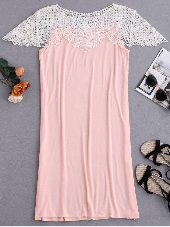 hot Cape Sleeve Lace Panel Babydoll - PINK L