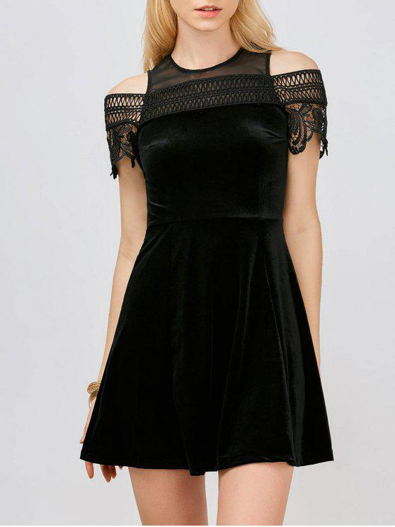 affordable Lace Insert Cold Shoulder Mini Dress - BLACK S