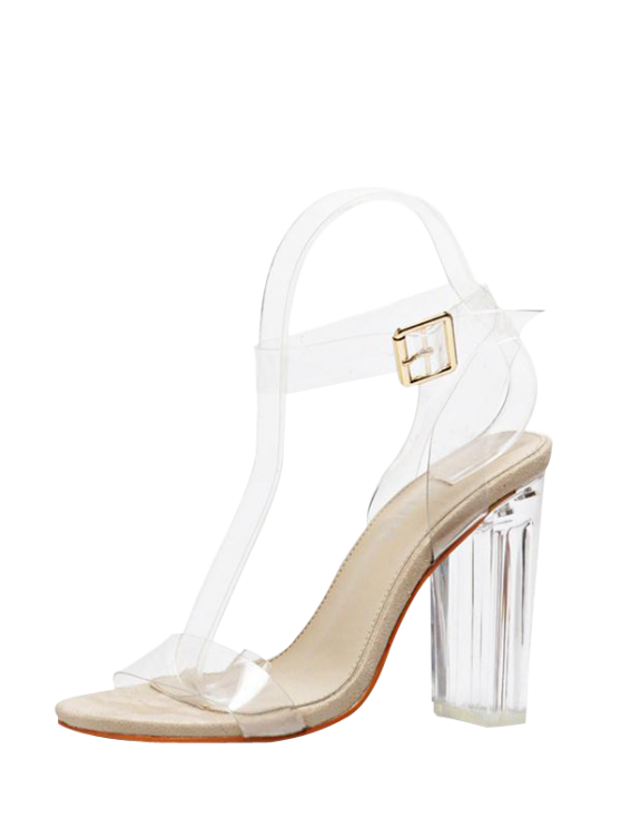 womens Transparent Plastic Clear Heel Ankle Strap Sandals - APRICOT 38