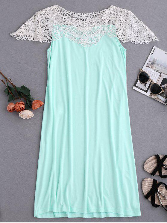 online Cape Sleeve Lace Panel Babydoll - LIGHT GREEN M